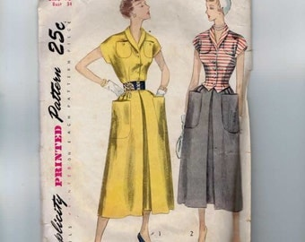 1950s Vintage Sewing Pattern Simplicity 3158 Misses Skirt and Blouse with Large Pockets Size 16 Bust 34 1950s 50s  99