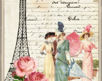 Vintage Roses in Paris Large digital download buy 3 get one free romantic cottage single image ECS
