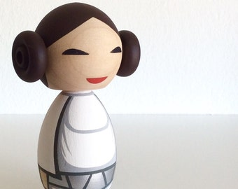 Kokeshi Doll. Princess Leia inspired Custom