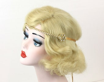 Gold Headband - Bridal Hair Accessory - Great Gatsby Headpiece - Bridesmaid Accessory - Crystal Rhinestone Headband - 1920s Flapper Costume