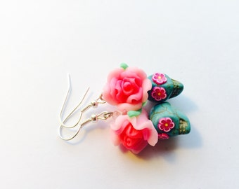 Sugar Skull Earrings in Pink and Turquoise