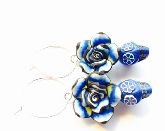 Day of the Dead Sugar Skull Earrings in Blue with Yellow