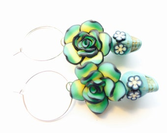 Day of the Dead Sugar Skull Earrings Turquoise Green Yellow