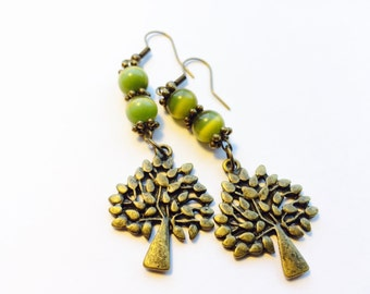 Green and Antique Brass Tree of Life Yggdrasil Earrings