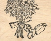 Bridal Bouquet Rubber Stamp, Mother's Day, Wedding Flowers L28306 Wood Mounted