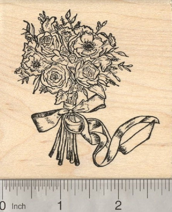 Bridal bouquet rubber stamp mother 39 s day wedding flowers for Wedding dress rubber stamp