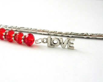 Fancy Love Bookmark with Red Glass Beads Shepherd Hook Silver Color