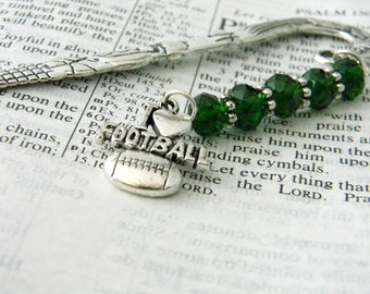 Fancy Football Bookmark with Green Glass Beads Shepherd Hook Bookmark Silver Color