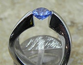 AAA Ceylon Blue Sapphire 1.14 carats 14K white gold Tension Set ring Engagement ring1815