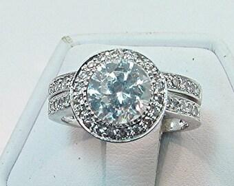 AAA White Topaz   7.03mm  1.65 Carats   14K white gold diamond Halo Wedding set.B007  0417