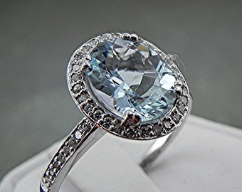 AAA Natural Aquamarine   10x8mm  3.02 Carats   set in a 14k White gold Halo ring with .30cts diamonds (.30ct) Ring MMM