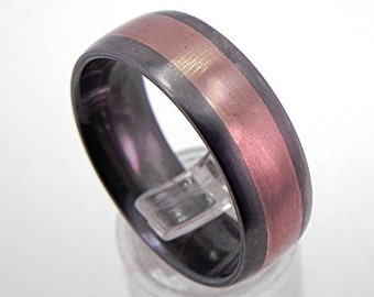 8mm Comfort Fit 14K rose gold titanium wedding band