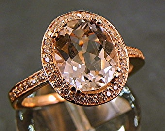 AAA White Topaz 3.33 Carats 10 X 8m. in a 14k ROSE gold ring with diamonds (.32ct) Ring