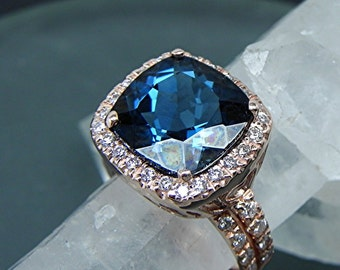 AAAA London Blue Topaz   10x10mm  4.00 Carats   14K Rose gold diamond (.65ct) Bridal set. BH99