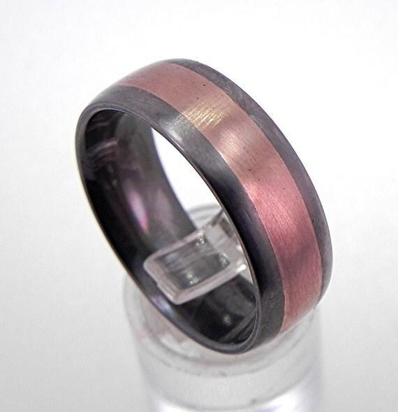 8mm Comfort Fit 14K rose gold titanium wedding band