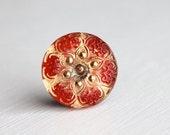 Gold/Red 18mm Czech Glass Button