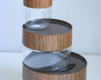 Vintage Pyrex canisters stacking wood grain set of 3