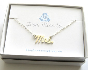 Mrs. Script Necklace Sterling Silver Cursive Mrs Word Jewelry New Bride Bridal Shower Gift Honeymoon Just Married Word Necklace Sentiment