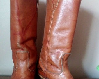 1960s Caramel Colored Leather Boots Campus Boots 8.5/9