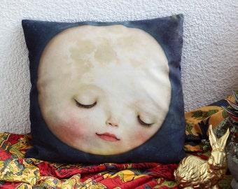 Sweet Moon Pillow | soft velvety space pillow case, childrens room, moon bedding kids room nursery bedding, Lisa Falzon home - by Meluseena