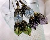 Boho Delights Glass Orb Long Earrings in White, Green or Purple - Hollow Globes Long Dangle Fashion Earrings