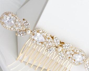 Wedding Hair Accessory Gold  Bridal Hair Comb Vintage Hair Piece Crystal Veil Clip Rhinestone Gold Veil comb VIVIENNE