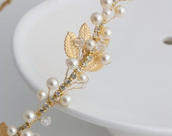 Gold Bridal Headband Pearl Headpiece Matt Gold Leaf Headband Delicate Simple Wedding Hair Accessory  EDERA