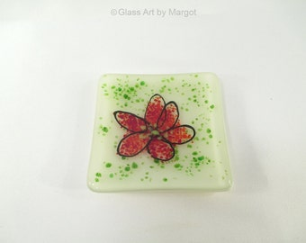 Mini 3 Inch Fused Glass Ring Dish Red Abstract Stylized Flower