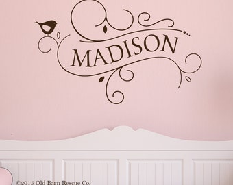 Personalized Name decal - baby girl nursery - girl monogram - Custom Vinyl Wall Decal modern Monogram Nursery Decor
