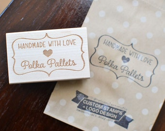 Custom Rubber Stamp - Made with love, handmade by, handmade with love, stitched with love