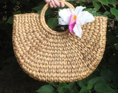Rounded Basket Purse with Added Tropical Flower Detail