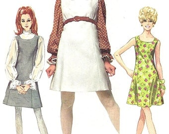 1960s Dress Pattern  How To Sew Jumper Blouse Simplicity Sewing Vintage Women's Misses Junior Size 9/ 10 bust 30. 5 Inches