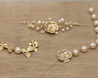 Mismatch Set of Three Complimentary Bridesmaid Necklaces with Blush Swarovski  Pearls and Gold Flowers0