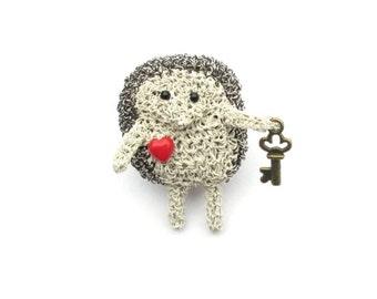 Hedgehog brooch - hedgehog holding the key to her heart, animal brooch, love brooch, love hedgehogs, hedgehog jewelry, animal brooch