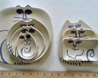 Ceramic Cat plate set 7: square triangle round rectangle shapes Pottery dish nesting handmade to order clay white blue satin glaze