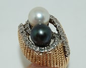 Vintage Black and White Pearl and Diamond Domed Ring 14 K Gold Size 5 1/2 - 6 Gorgeous