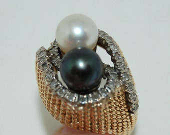 SALE --- Vintage Black and White Pearl and Diamond Domed Ring 14 K Gold Size 5 1/2 - 6 Gorgeous