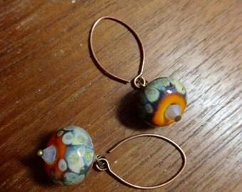 Earthy Orange Earring, Lampwork Glass