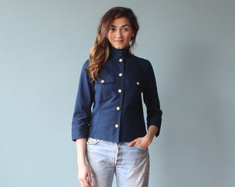military top / ralph lauren navy jacket / 1990s / xs- small