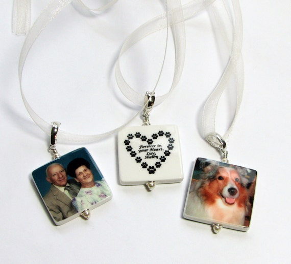 3 Wedding Bouquet Memorial Charms. Medium Photo Charms with Rounded Corners - BC2Rx3