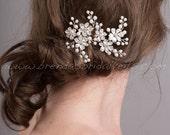 Wedding Hair Accessory, Bridal Pearl Hair Pins, Rhinestone Wedding Headpiece - Freda