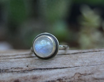 Moonstone Ring. Rainbow Moonstone Sterling Silver Stack Ring. Made to Order in your Size.Gemstone Ring.