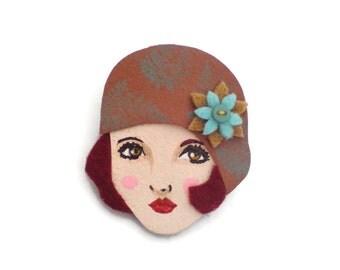 Art Deco Flapper Fabric Brooch, Felt Brooch, retro brooch, Wearable Art Jewelry, Mother's Day Gift