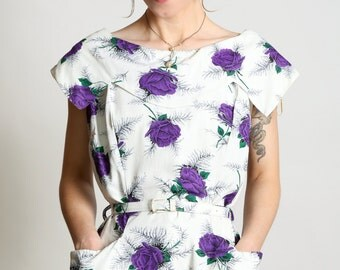 SALE- Purple Rose of Cairo 1960s Dress