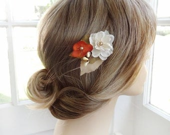 autumn hair accessories, orange flower for hair, fall wedding, bridesmaid hair accessories, ivory flower hair clip, floral hair clip