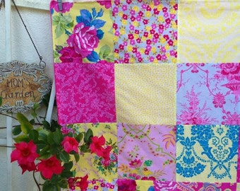 32x32 Yellow & Pink Baby Blanket Ready to Ship