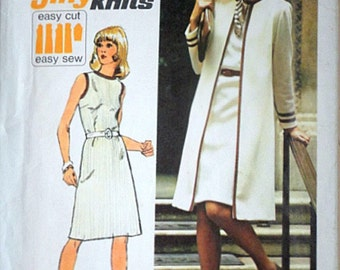Vintage Simplicity 6200 Vintage 70's Jiffy Sewing Pattern, Misses' Knit Unlined Coat And Dress, Size 16, 38 Bust