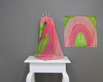 Vintage Vera Neumann Scarf Chiffon Square 60s Pink Green Wispy Watermelon Rainbow Print