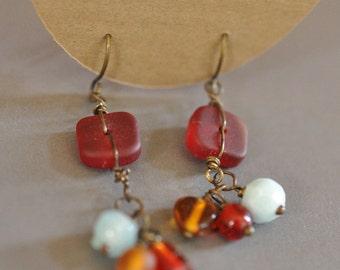 Red Beach Glass dangle earrings