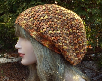 Autumn Multicolor Slouch Beanie, Womens Crochet Hat, Slouchy Hat, Oversized Slouchy Beanie, Chunky Hat, Baggy Beanie, Winter Hat, Slouch Hat